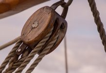 a pulley block rigging an equipment