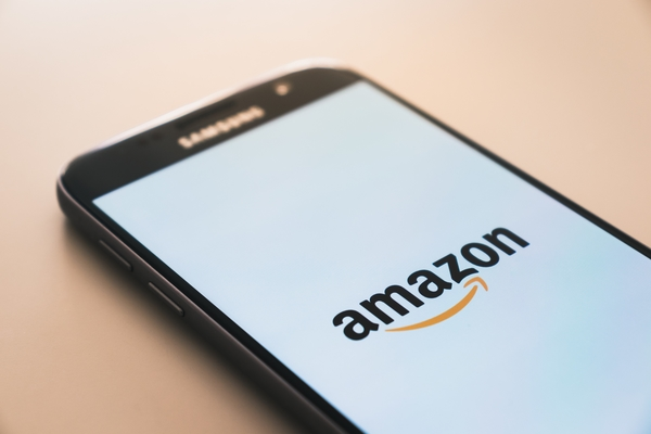 smartphone with amazon logo in the screen