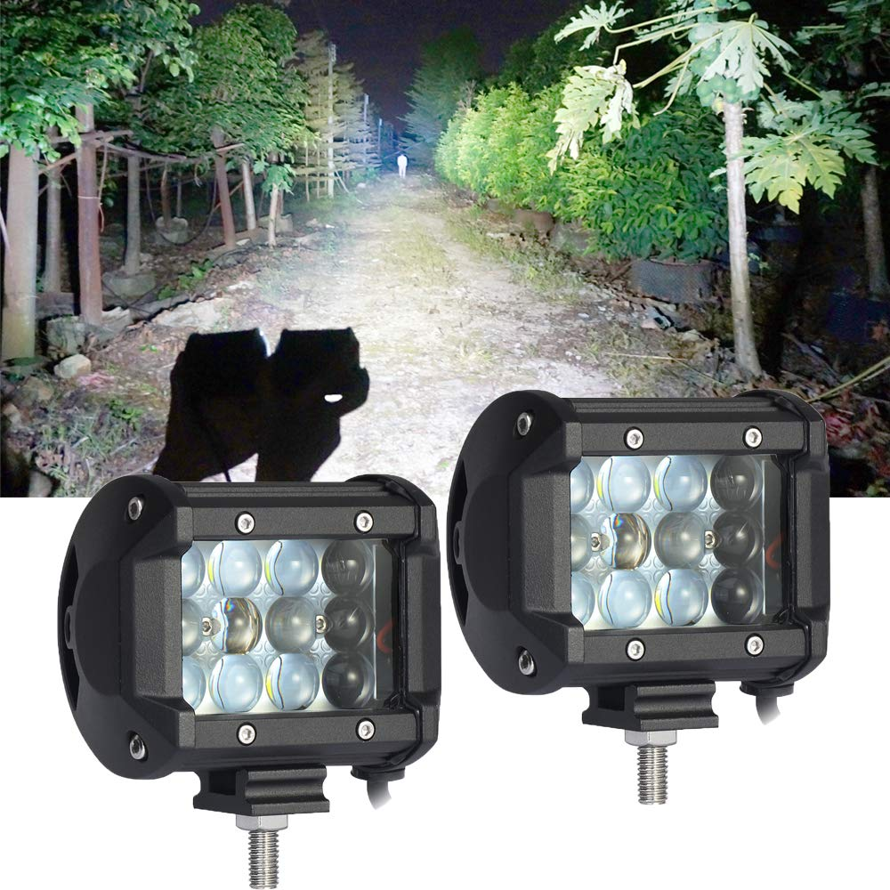 LED Lights Bar 2PCS 4Inch 36W White 6D Triple Row Spot Beam 3800LM Waterproof Fog Lights